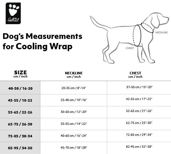 Таблица  размеров охлаждающих жилетов Hurtta Cooling Wrap